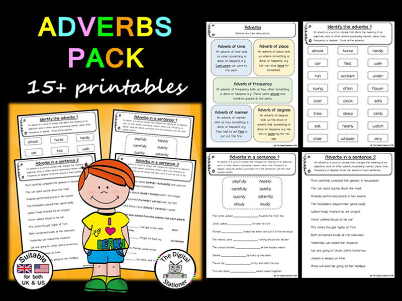 Adverbs Pack (Parts of Speech) (suitable UK/US) - 15+ printables