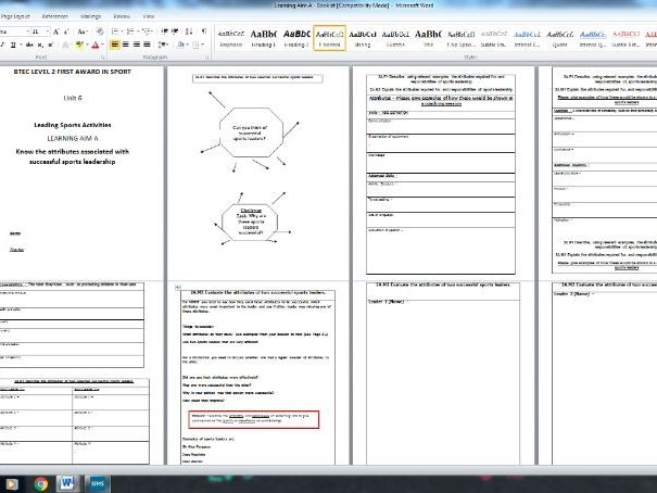 BTEC SPORT UNIT 6 - Leading Sports Activities Student Booklet