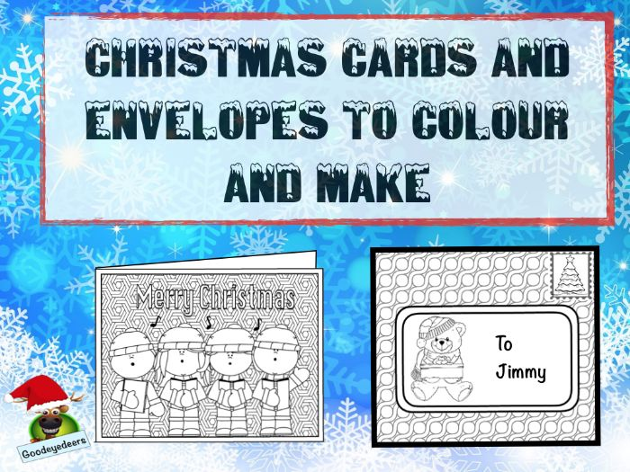 Christmas Cards and Envelopes to Make and Colour