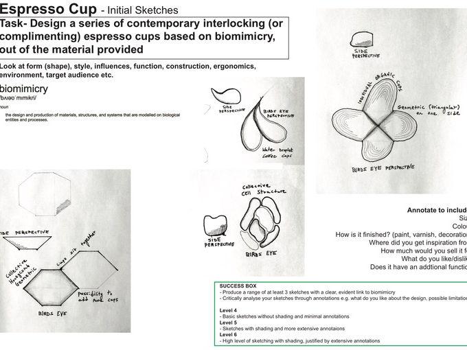 Product Design - Biomimicry Espresso Cup - Initial Sketches L1 KS3 KS4
