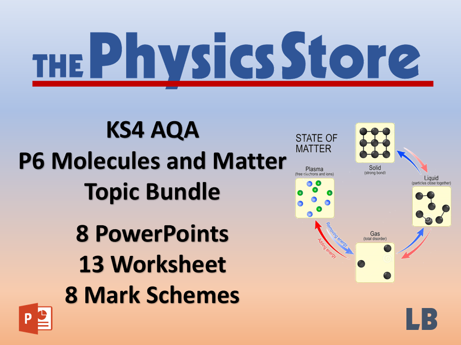KS4 GCSE Physics AQA P6 Molecules and Matter Topic - 8 PPTs, 13 WS and 8 MS Bundle