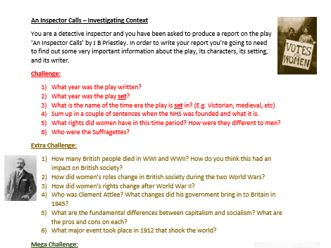 An Inspector Calls - Research Lesson
