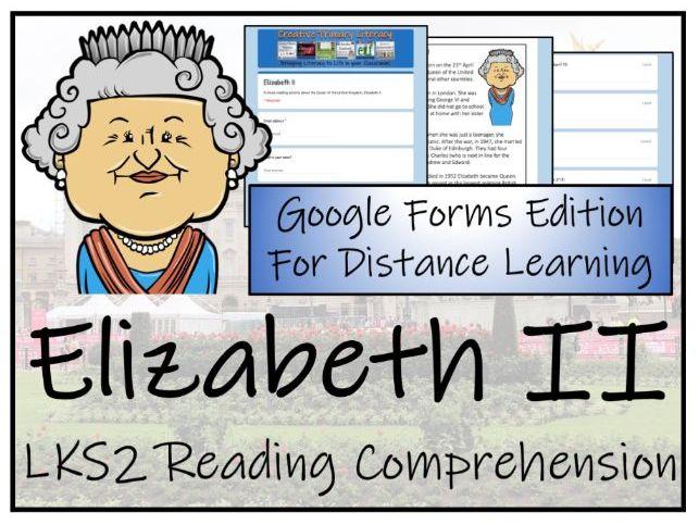 LKS2 Queen Elizabeth II Reading Comprehension Activity   Digital & Print
