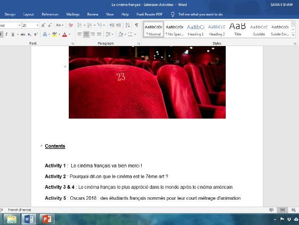 Le cinema francais - Extension Activities for A Level French