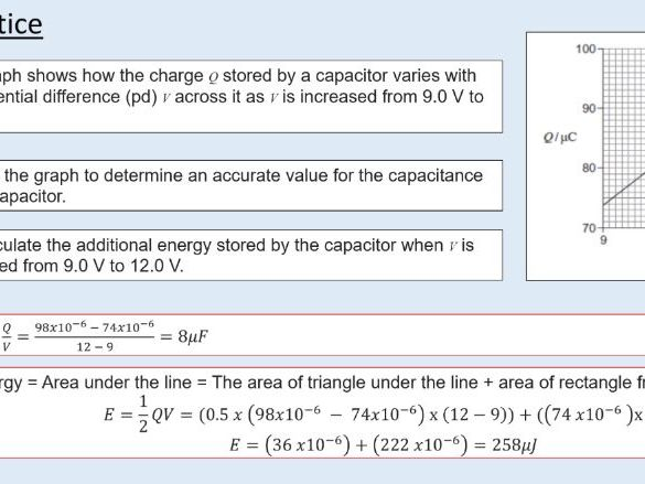 A level Physics (23.2) Energy stored in a charged capacitor (Capacitors)