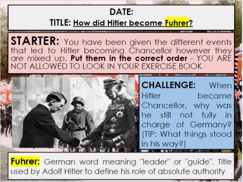 Edexcel 9-1 History GCSE: Paper 3 Germany: KT3 Lesson 1: How Hitler became Fuhrer: Q3a Guidance