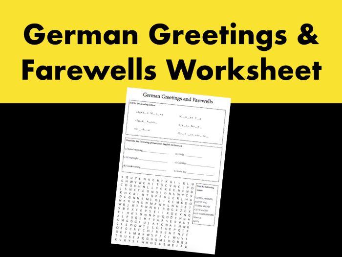 German Greetings and Farewells Worksheet
