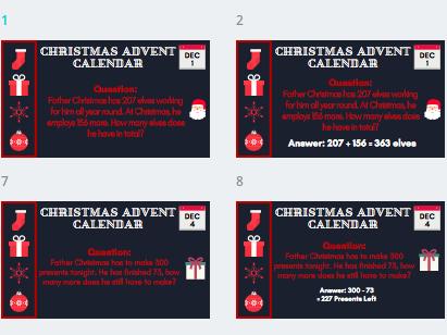 Christmas Maths Advent Countdown Calendar