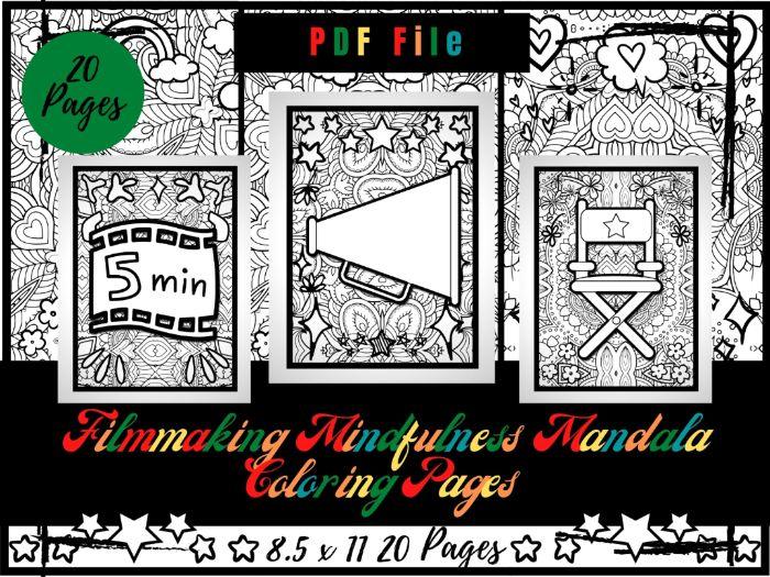 Filmmaking Mindfulness Mandala Colouring Pages, Photography Printable Sheets PDF