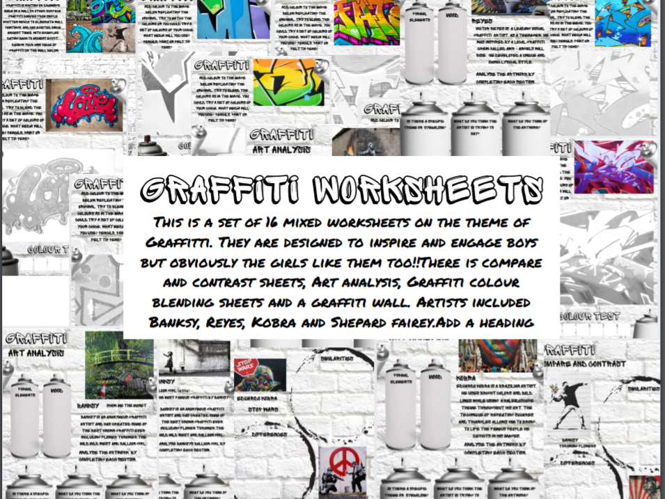 Graffiti Worksheets cover Lessons, home learning, Compare contrast and analysis - Banksy