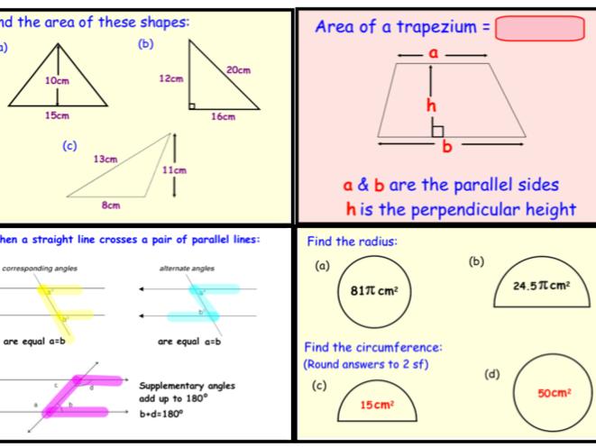 GCSE Geometry - Area, Perimeter, Volume, Angles & Pythagoras Revision (notebook)