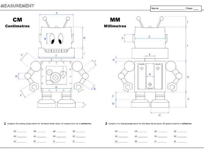 Measurement cm & mm A3 Worksheet