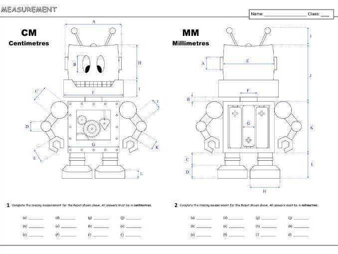 Measurement cm & mm A3 Worksheet