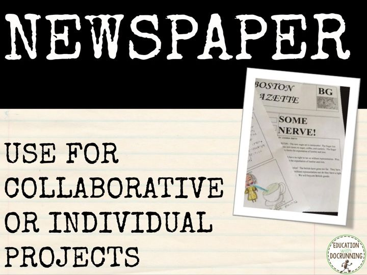 Newspaper project for any subject
