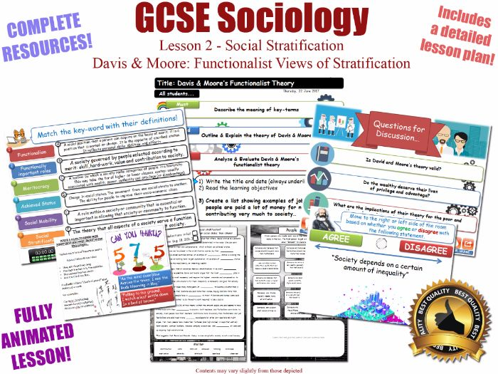 Functionalism & Social Stratification L2/20 [ WJEC EDUQAS GCSE Sociology ] [ Davis & Moore ] NEW