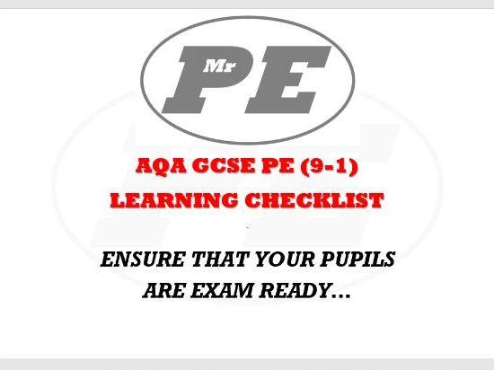 GCSE PE (9-1) PAPER 1 REVISION CHECKLIST