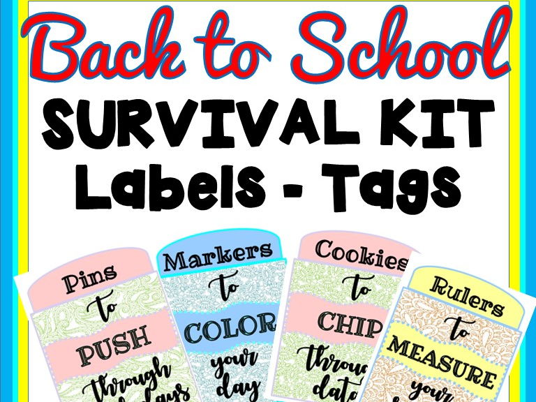 Back to School Survival Kit Labels- Gift Tags- Welcome Tags