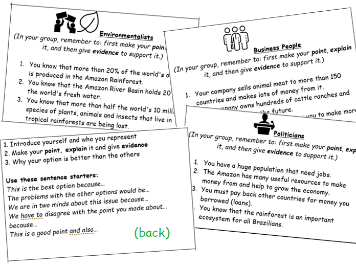 Amazon Rainforest Debate Cards