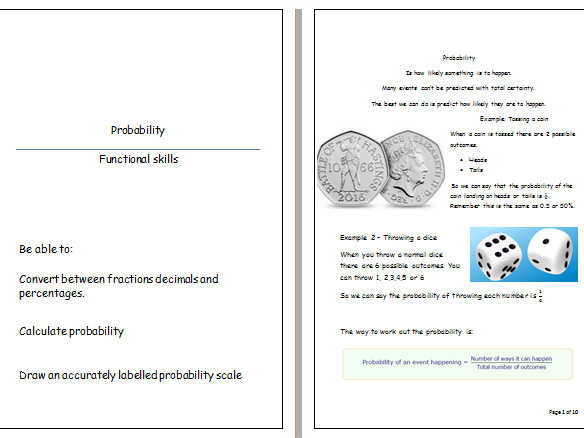 Functional skills or GCSE maths. Basic probability whole lesson and answers