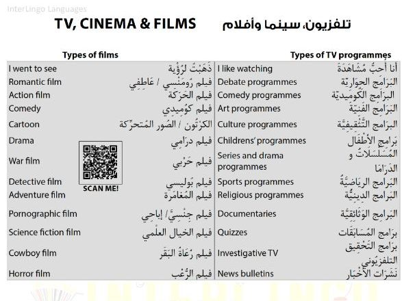 TV, Cinema & Films - Arabic lesson