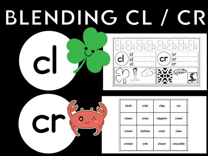 Blending Cl and Cr Worksheets KS1