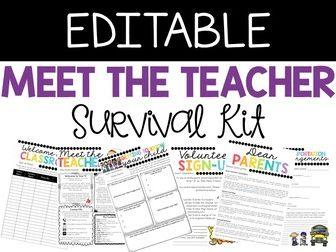 Meet the Teacher Night Survival Kit- EDITABLE