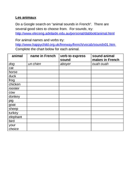 Animaux (Animals in French) names, sounds and verbs worksheet