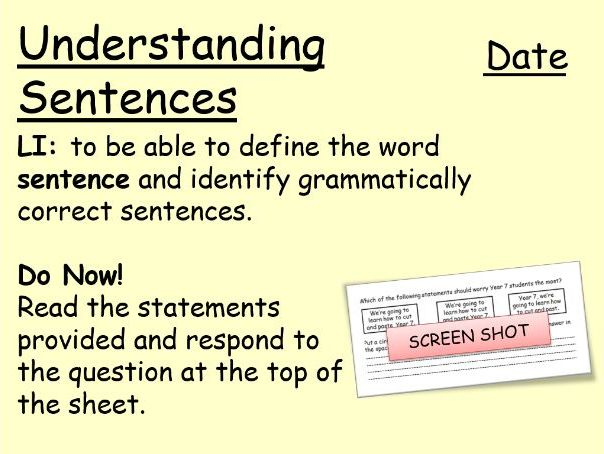 Lower Ability KS3: What is a Sentence?