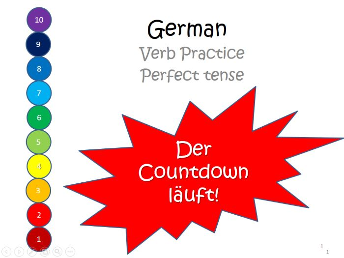 German perfect tense translation game