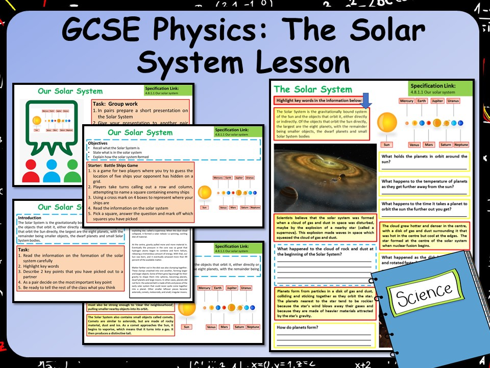 KS4 AQA GCSE Physics (Space) Formation of the Solar System Lesson
