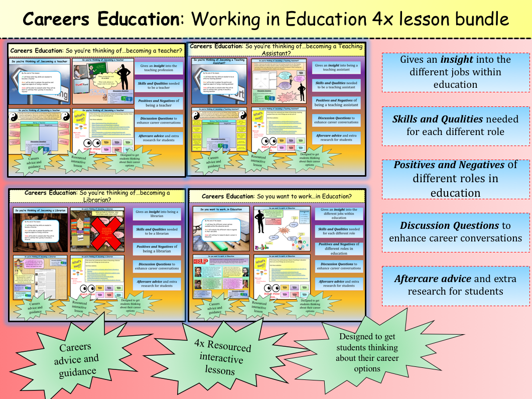 **Careers Education**: Working in Education 4x lesson bundle