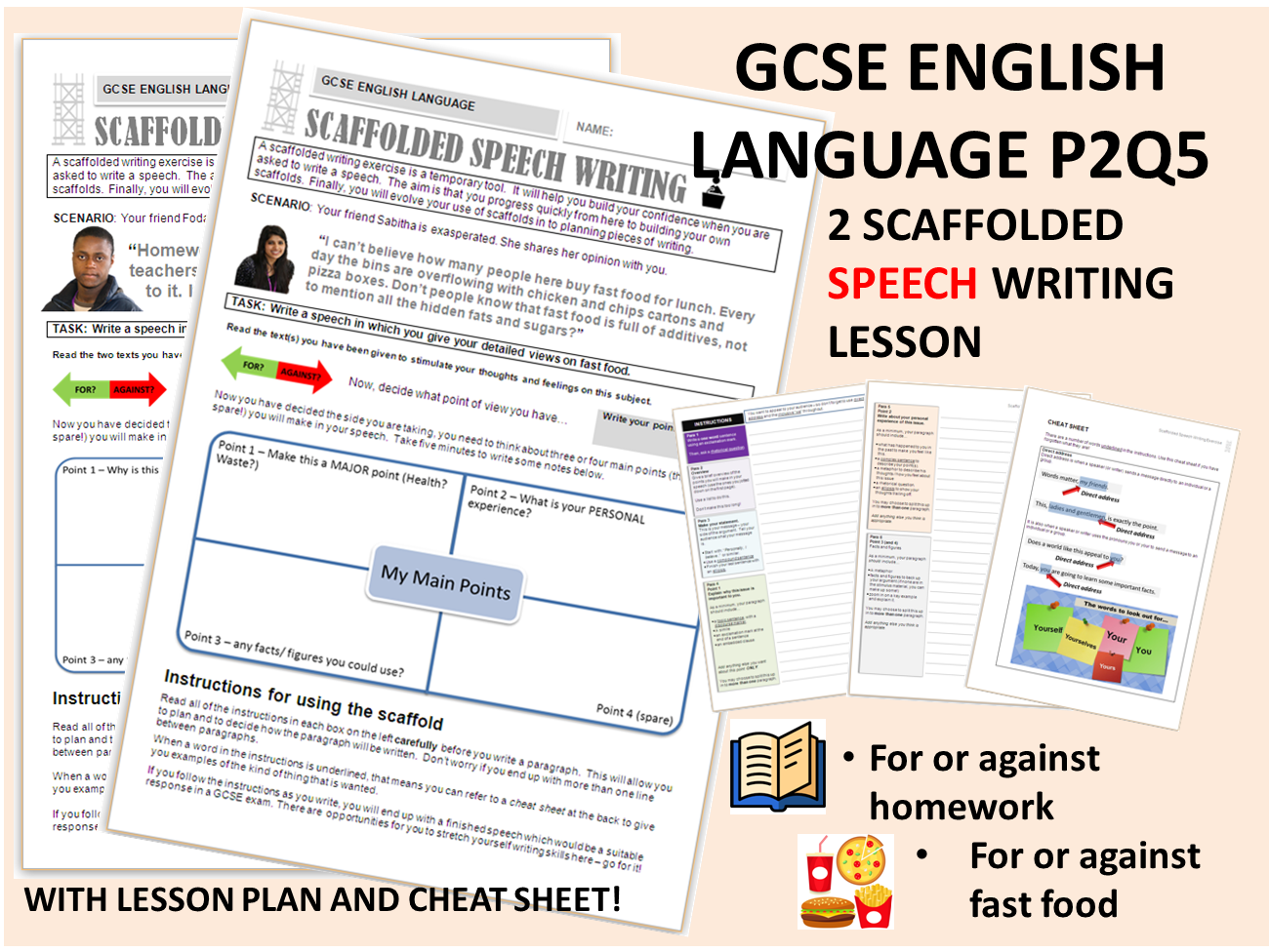 2 GCSE English Language 9-1 Scaffolded Speech Writing - Whole Text Exercises
