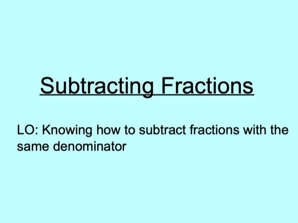 Subtracting fractions lesson plan and worksheets!