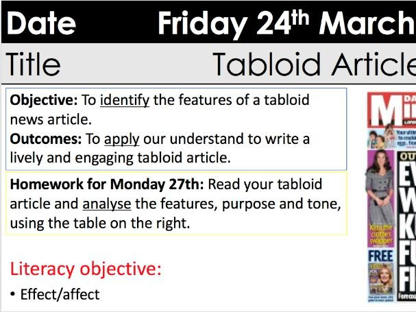 Newspapers tabloid articles KS3 Y9 with homework