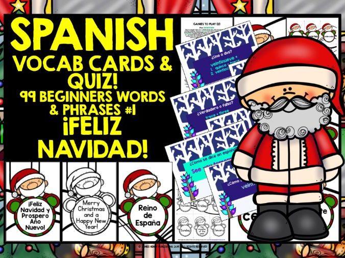 SPANISH VOCABULARY CHRISTMAS GAMES CARDS & QUIZ #1