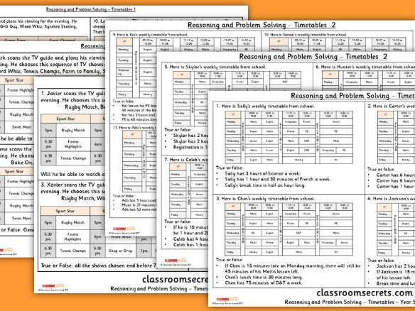 Year 5 Timetables Statistics WRM Reasoning and Problem Solving Pack