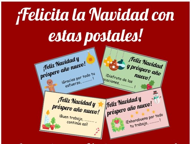 Spanish Christmas cards. Postales de Navidad. Reward cards Spanish