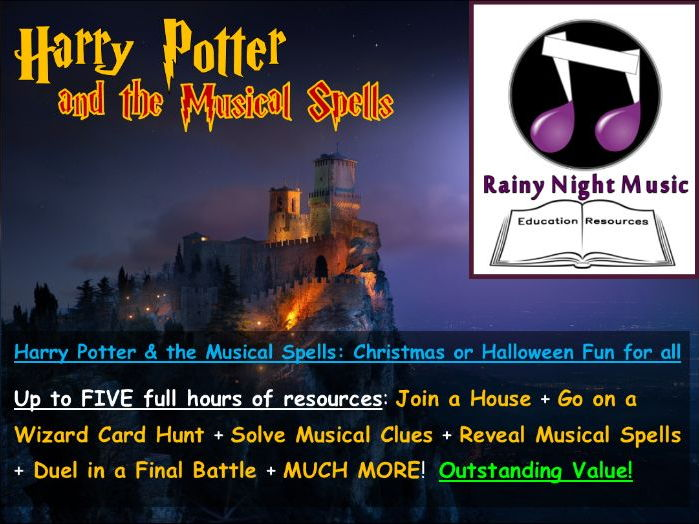 HARRY POTTER AND THE MUSICAL SPELLS - CHRISTMAS OR HALLOWEEN FUN FOR ALL - BEAUTIFUL RESOURCES