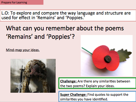AQA Power & Conflict Poetry - Comparing the poems 'Poppies' and 'Remains.'