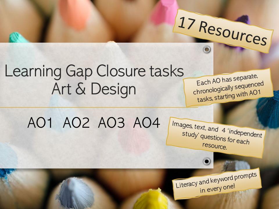 COVID Pandemic Learning Gap Closing tasks for AO1 AO2 AO3 AO4 A'level + GCSE Art & Design