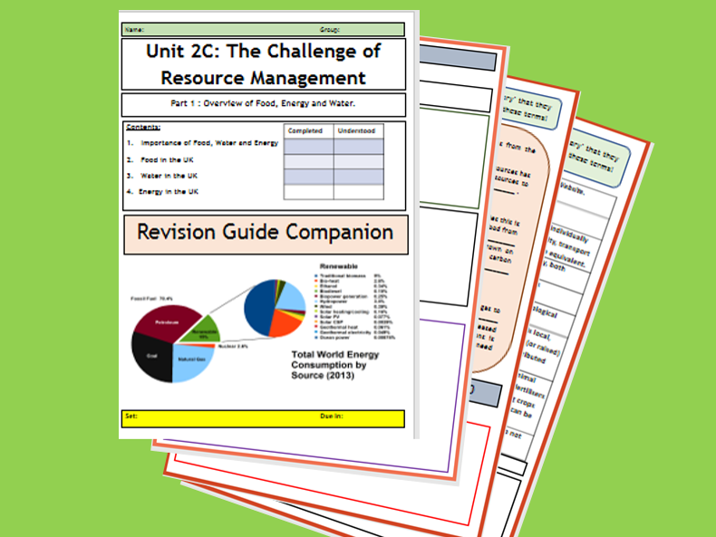 GCSE AQA 9-1 : 2C The Challenge of Resource Management - Flipped Learning Revision Guide Companion.