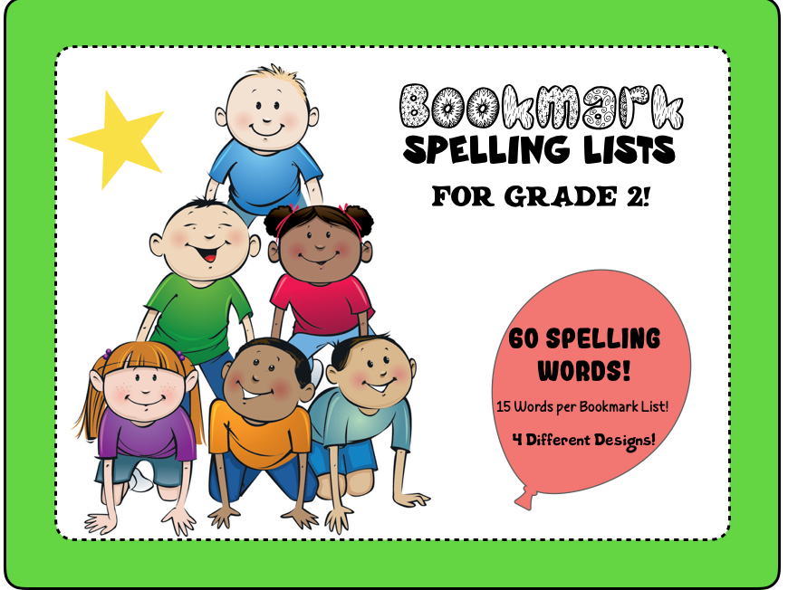 Bookmark Spelling Lists for Grade 2