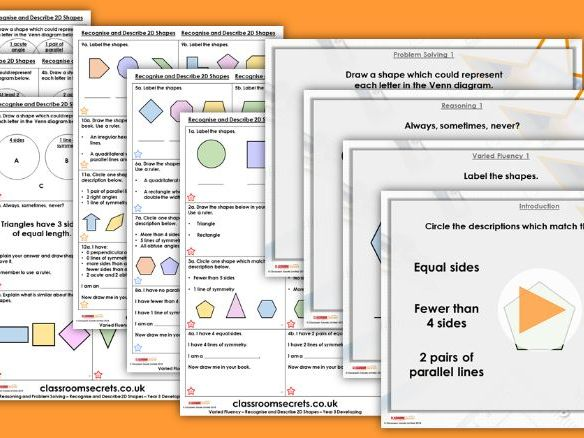 Year 3 Recognise and Describe 2D Shapes Summer Block 3 Step 7 Maths Lesson Pack