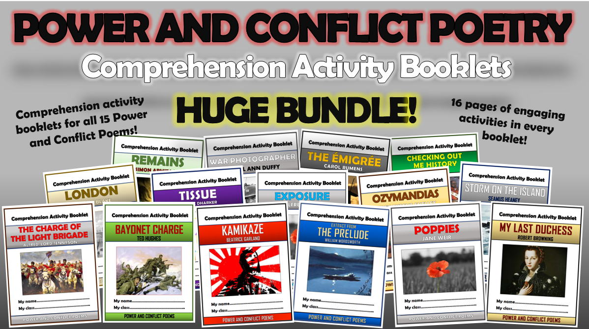 Power and Conflict Poetry Comprehension Activity Booklets Bundle!
