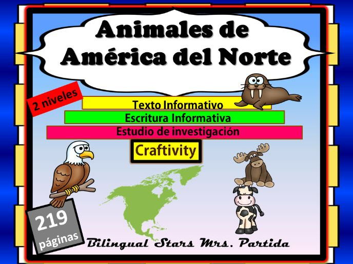 Animales de America del Norte North America Animals ReadingWriting ResearchText
