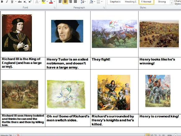 Henry VII and the Battle of Bosworth (powerpoint and worksheet)