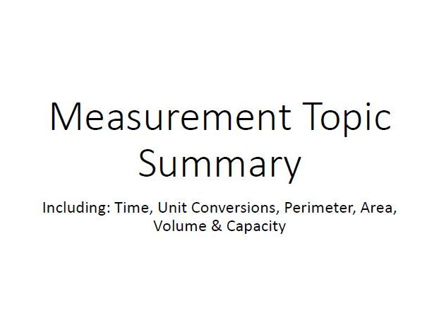 Year 5/6 - Measurement Topic Summary