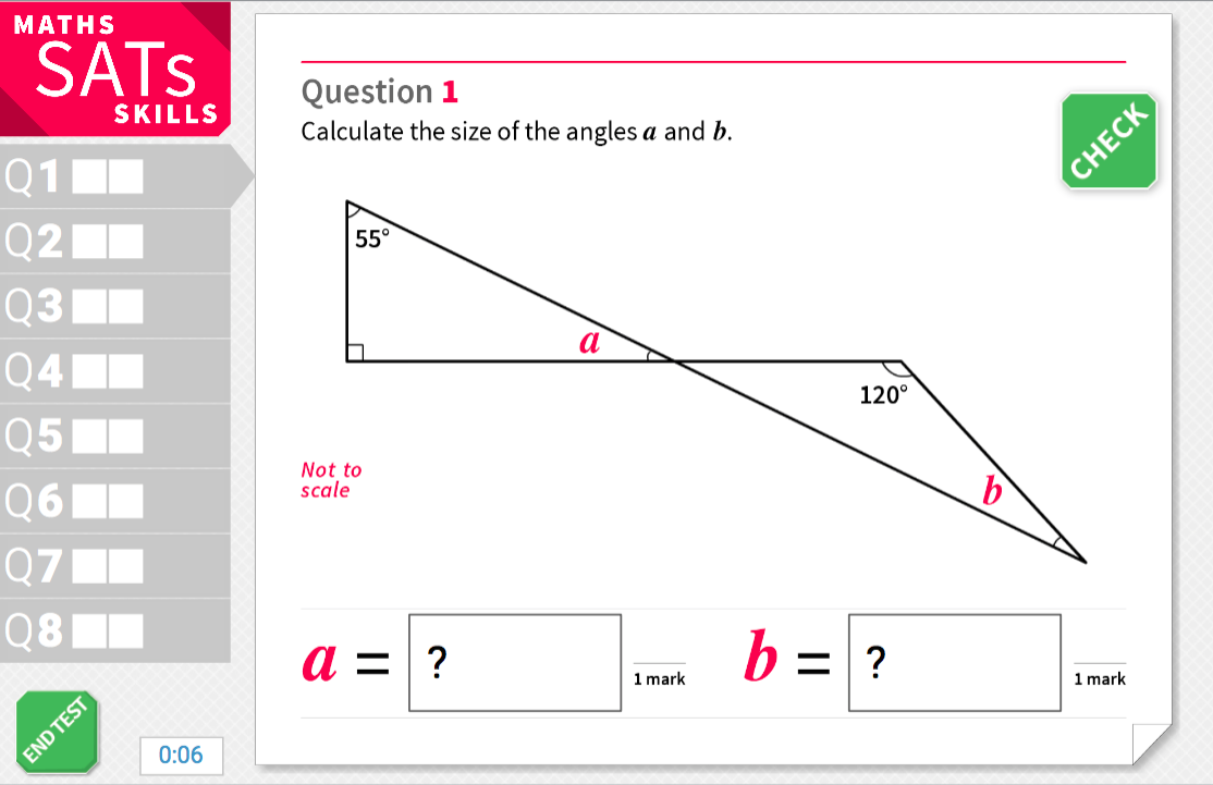 Finding the value of a missing angle - KS2 Maths Sats Reasoning - Interactive Exercises