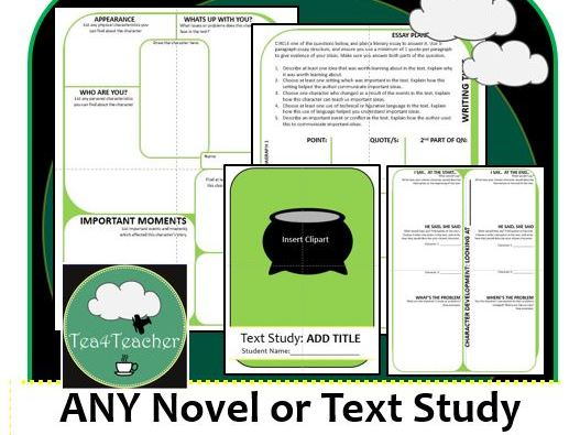 ANY TEXT Editable Printable Booklet for Any Novel or Short Story Unit - Easy As!