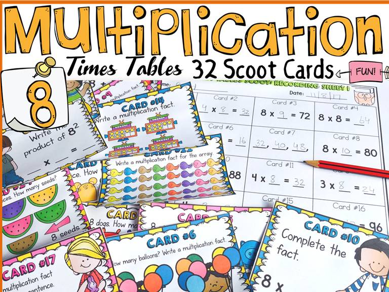 MULTIPLICATION: EIGHT TIMES TABLES FACTS: SCOOT CARDS